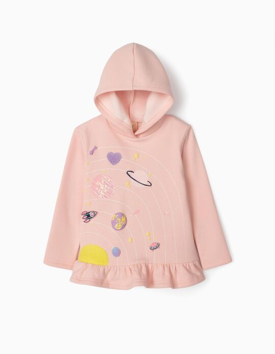 Hooded Sweatshirt for Girls, 'Solar System', Pink