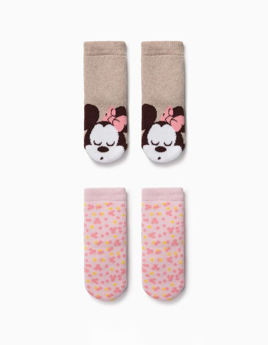 2-Pack Non-slip Socks for Baby Girls 'Minnie', Pink/Brown