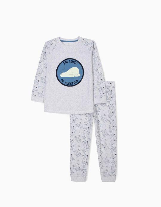 Velvet Pyjamas for Boys 'ZZZ', Grey