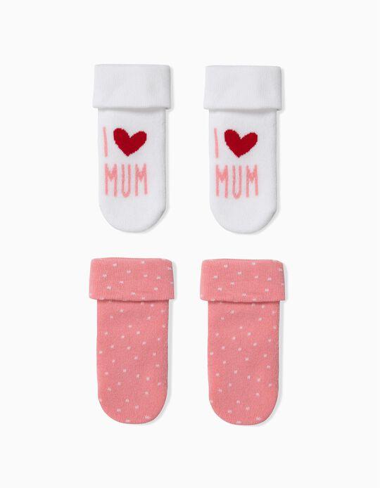 Pack 2 Meias para Bebé Menina 'Mum',  Branco e Rosa