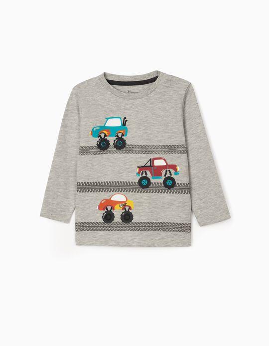 Long sleeve T-Shirt for Baby Boys 'Trucks', Grey