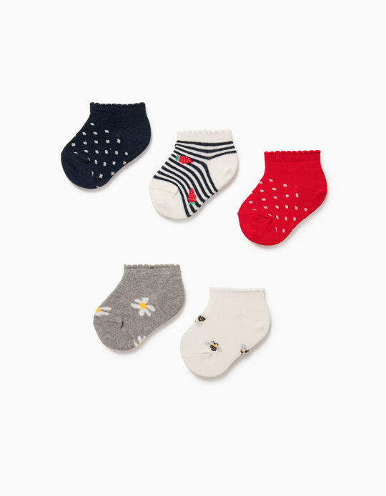5 Pairs of Trainer Socks for Baby Girls, 'Bees & Flowers', Multicoloured