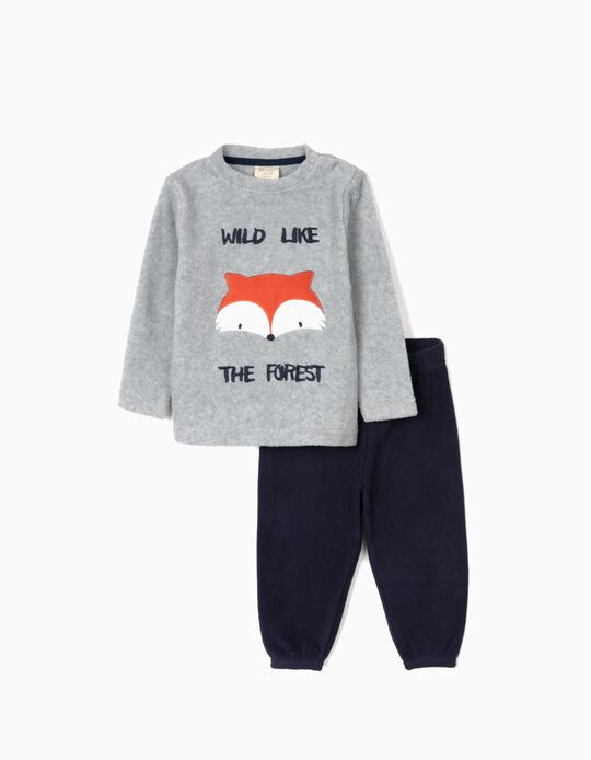 Polar Fleece Pyjamas for Baby Boys 'Wild', Grey/Dark Blue