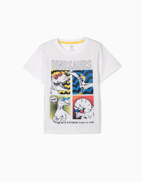 T-shirt for Boys 'Dinosaurs', White