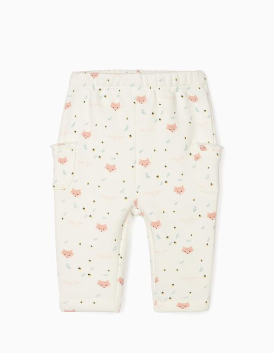 Trousers for Newborn Baby Girls 'Baby Fox', White