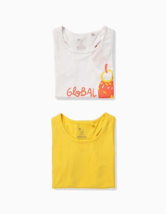 2 Tops para Menina 'Ice Cream', Branco e Amarelo