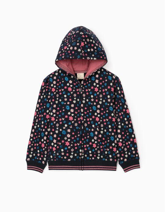 Hooded Jacket for Girls 'Flower Power', Dark Blue