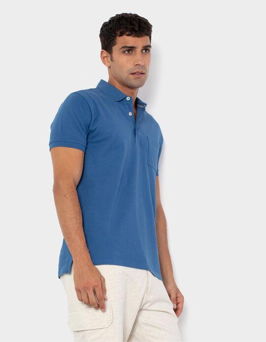 PiquéKnit Polo Shirt for Men, Blue