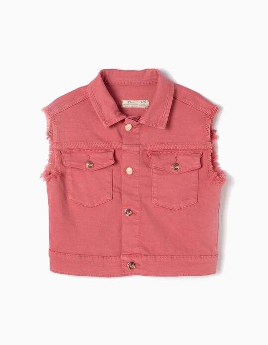 Waistcoat with Frayed Armholes, Pink