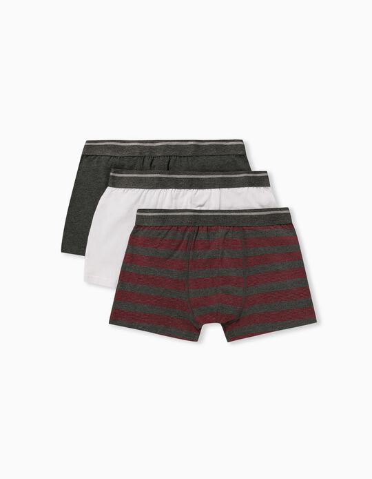 3 Pairs of Boxer Shorts for Men, Grey/ White