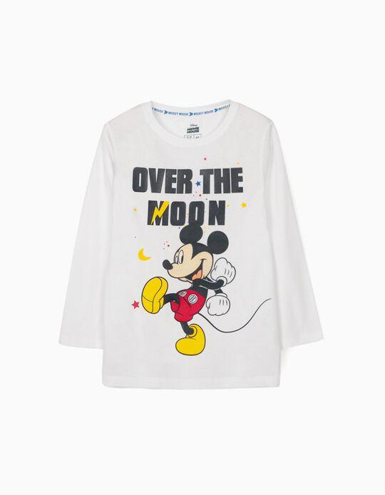 T-shirt Manga Comprida para Menino 'Mickey Moon', Branco