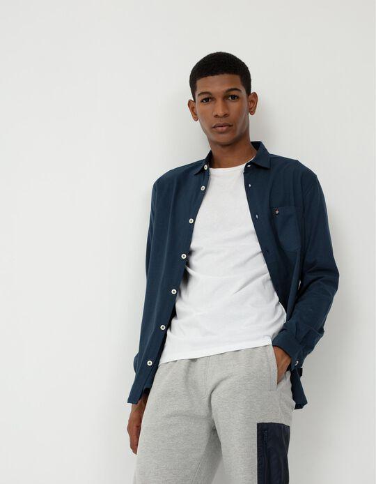 Slim Fit Fine Knit Shirt for Men, Dark Blue