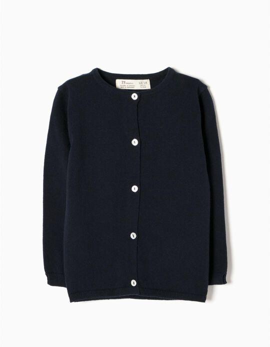 Knit Cardigan for Baby Girls, Dark Blue