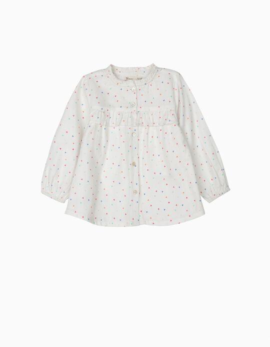 Blusa para Bebé Menina Corações Coloridos, Branco