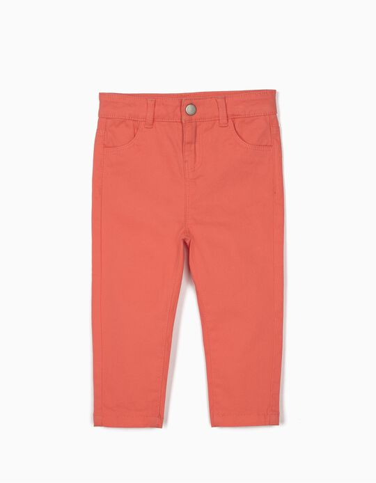 Twill Trousers for Baby Girls, Coral