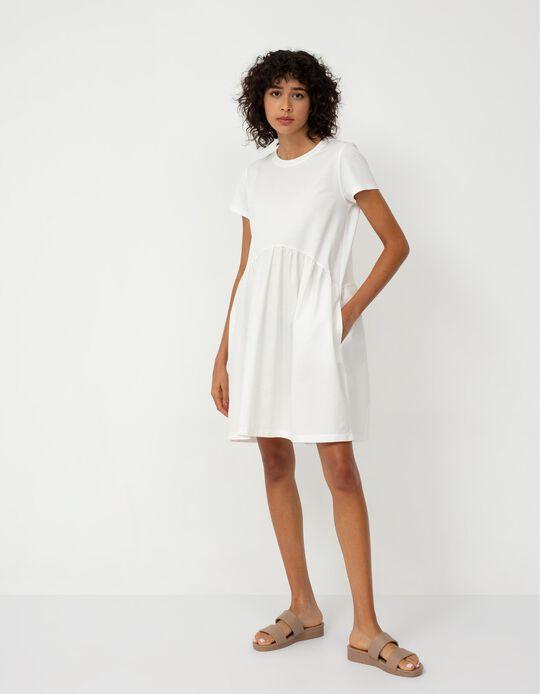 Short Sleeve Dress for Women, White