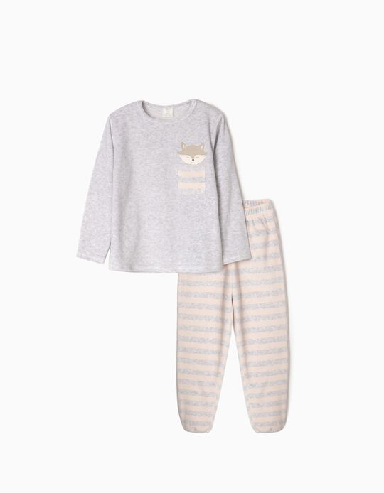 Velvet Pyjamas for Girls 'Cute Fox', Grey/Light Pink