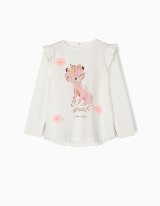 Long-sleeve Top for Girls 'Strong & Fast', White