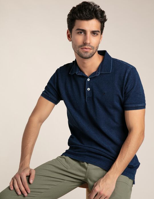Indigo piqué knit polo shirt
