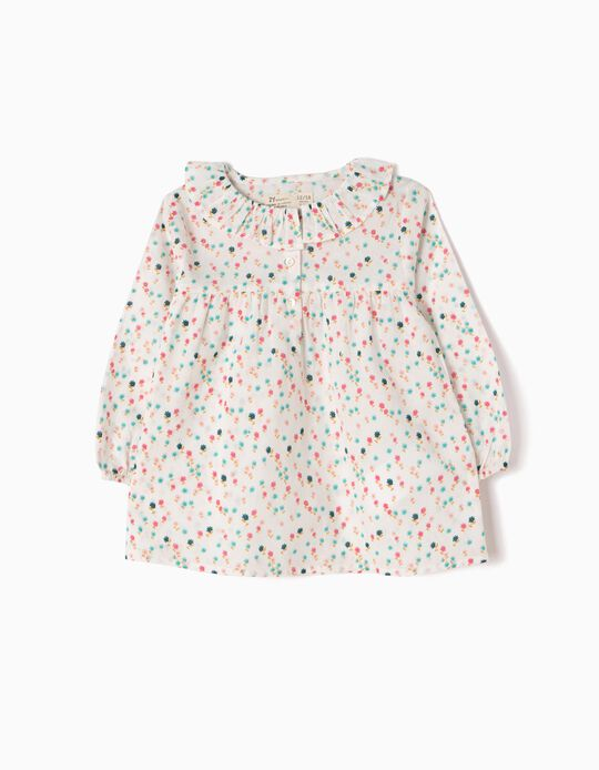 White Loose-Fitting Blouse, Little Flowers