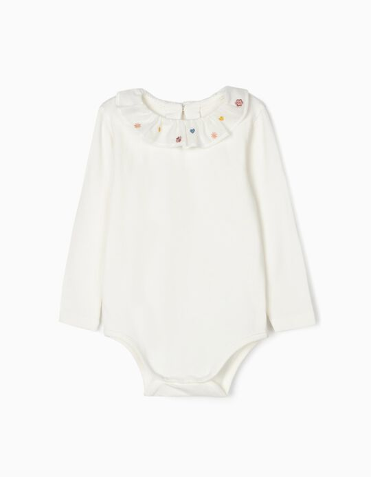 Bodysuit with Embroideries for Baby Girls, White