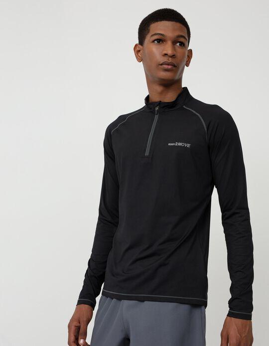 Long Sleeve Techno Top for Men, Black