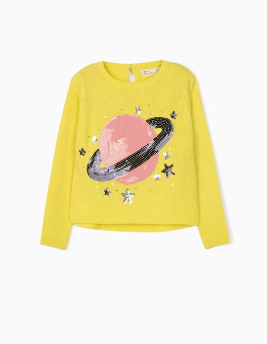 Jumper for Girls, 'Saturn', Yellow