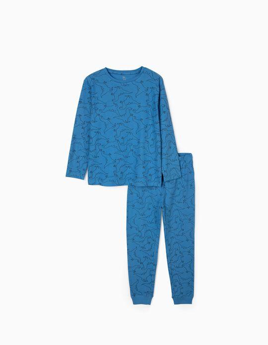 Pijama Canelado para Menino 'Dinosaurs', Azul