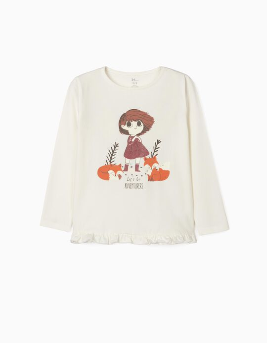 Long Sleeve Top in Organic Cotton for Girls, 'Adventurers', White