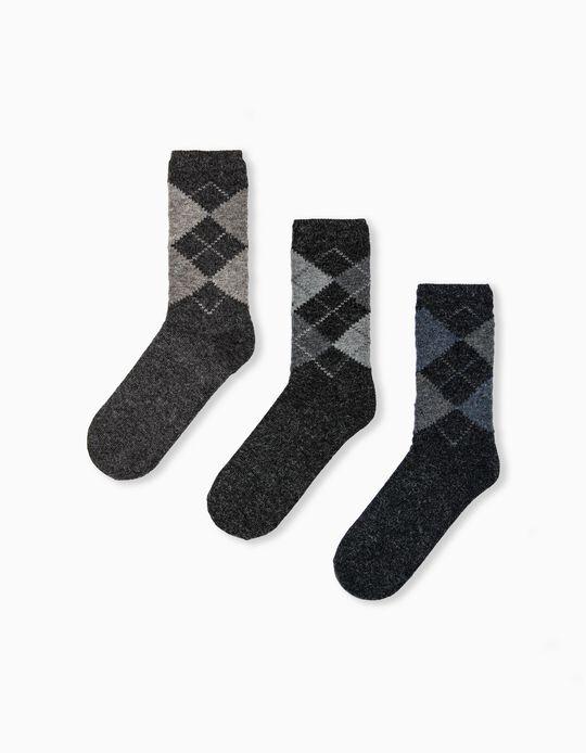 3 Pairs Woollen Socks, Men, Brown/Grey