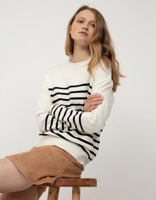 Striped Jumper for Women, Beige