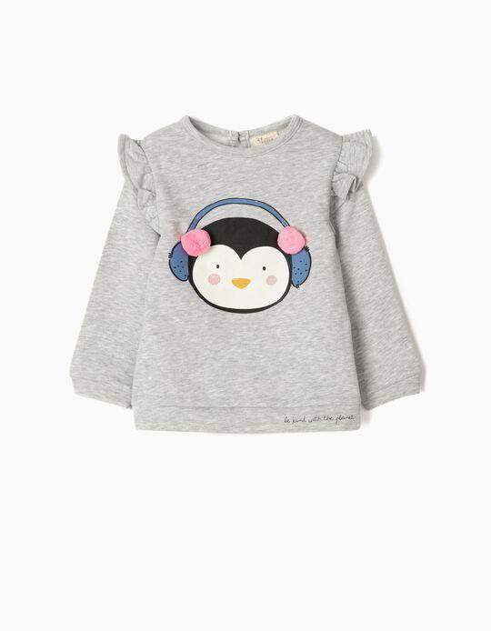 Sweatshirt para Bebé Menina 'Cute Penguin', Cinza