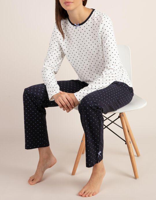 Conjunto de pijama bicolor com estampado às estrelas