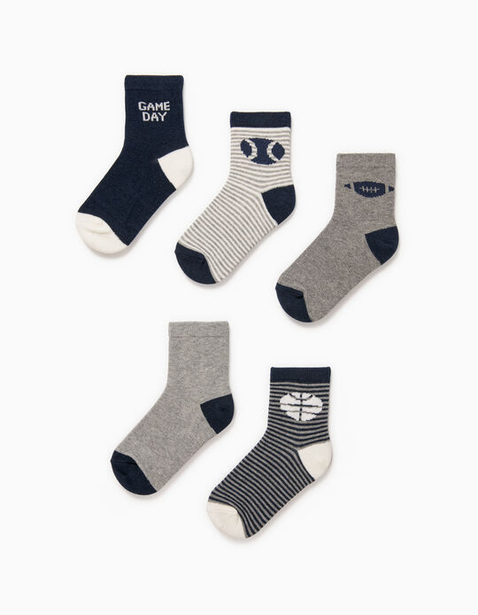 5 Pairs of Socks for Boys, 'Game Days', Blue/Grey/White