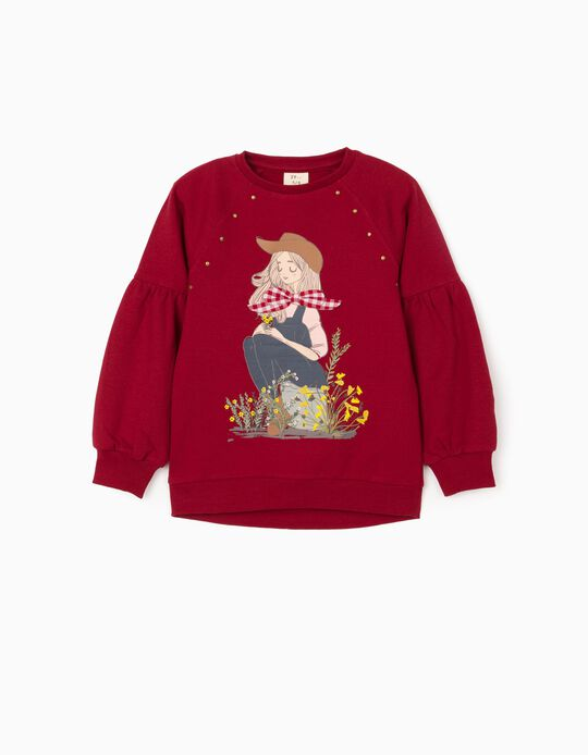 Sweatshirt for Girls 'Girl with Bow', Burgundy