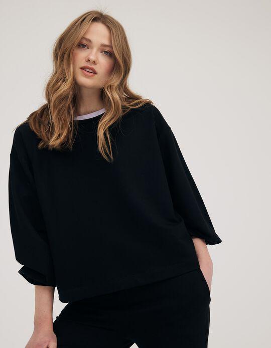 Sweatshirt with Bishop Sleeves, Made in Portugal