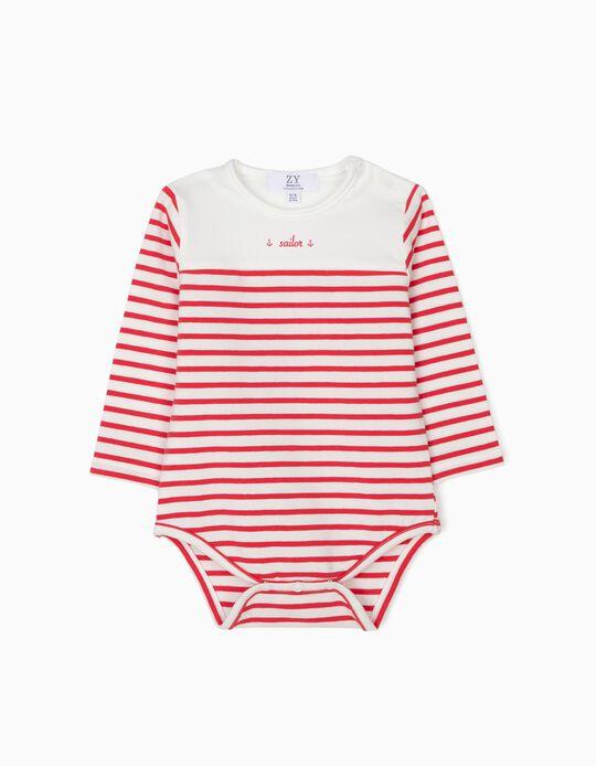 Body para Recém Nascido 'Sailor, Riscas Vermelhas