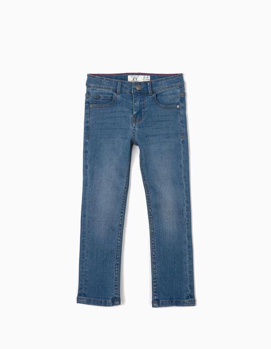 Calças de Ganga para Menino Slim Fit, Azul
