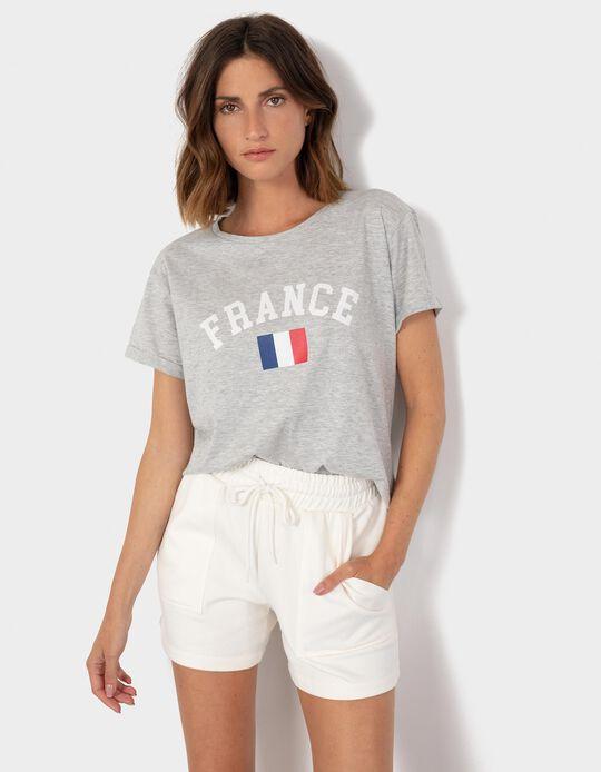 France' T-shirt for Women, Grey