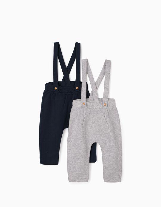 2 Trousers with Braces for Newborn Baby Boys, Grey/Dark Blue