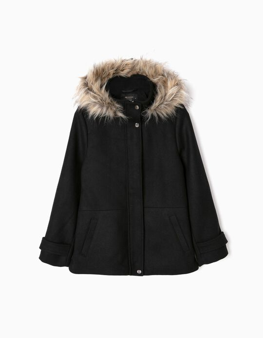 Jacket with fur trim on the hood