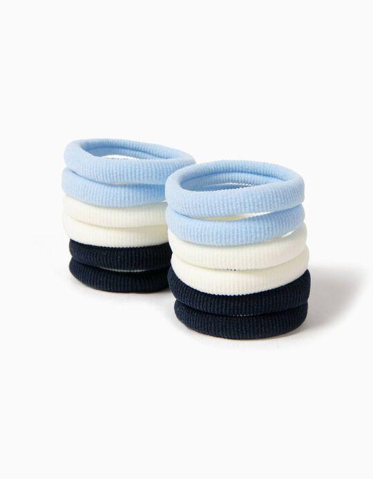 Pack 12 Elásticos Cabelo Azul