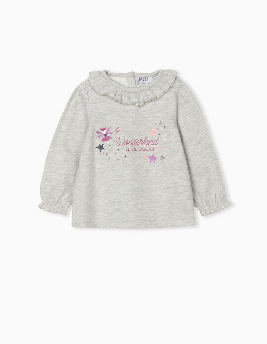 Ruffled Sweatshirt, Baby Girls, Grey
