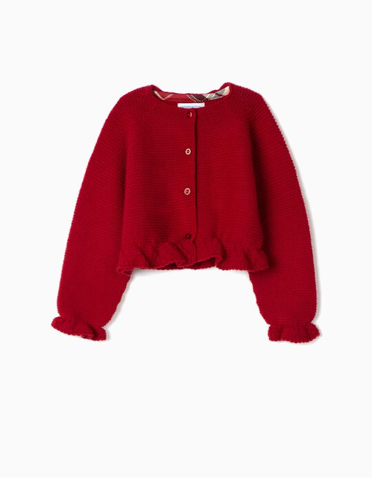 Casaco de Malha Curto para Bebé Menina 'B&S', Vermelho Escuro
