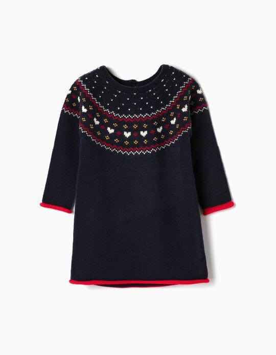 Knit Dress for Baby Girls, Dark Blue