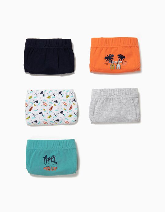 5 Cuecas para Menino 'Surf Time', Multicolor