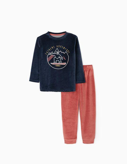 Pijama Veludo para Menino 'Adventure', Azul Escuro/Vermelho