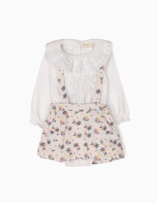 Conjunto Body-Blusa e Saia de Peito Flores