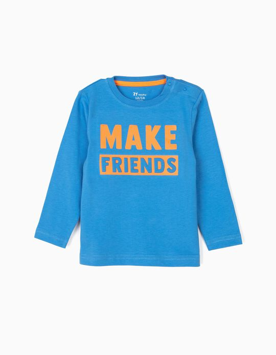 T-shirt Manga Comprida para Bebé Menino 'Make Friends', Azul