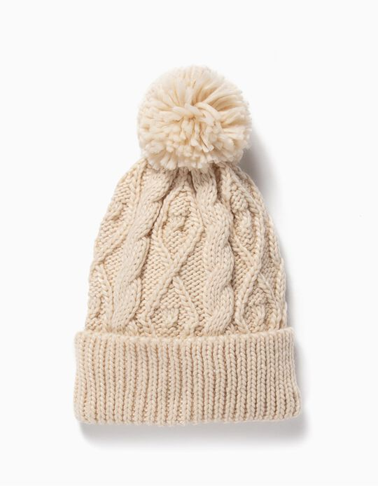Cable Knit Beanie for Girls, Beige